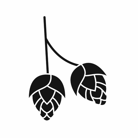 ferment: Branch of hops icon in simple style isolated vector illustration Illustration