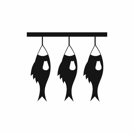 Three dried fish hanging on a rope icon in simple style isolated vector illustration