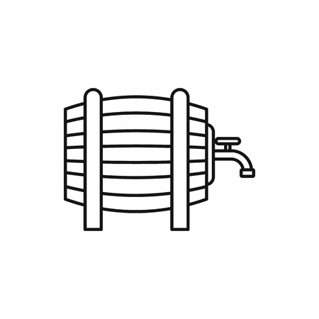 metal legs: Wooden barrel with tap icon in outline style isolated vector illustration