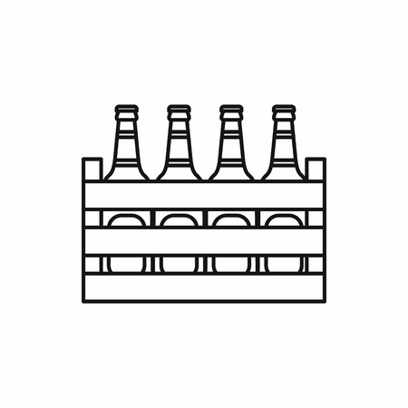 ice pack: Beer wooden box icon in outline style isolated vector illustration