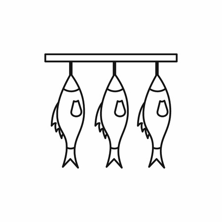 bream: Three dried fish hanging on a rope icon in outline style isolated vector illustration