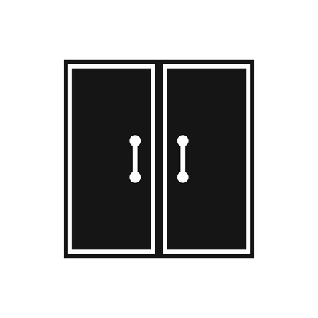glass doors: Two glass doors icon in simple style isolated vector illustration
