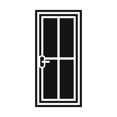 metall and glass: Glass door icon in simple style isolated vector illustration