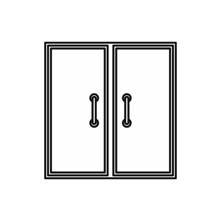 metall and glass: Two glass doors icon in outline style isolated vector illustration