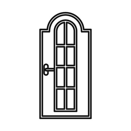 Arched wooden door with glass icon in outline style isolated vector illustration