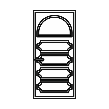 arched: Wooden door with an arched glass icon in outline style isolated vector illustration