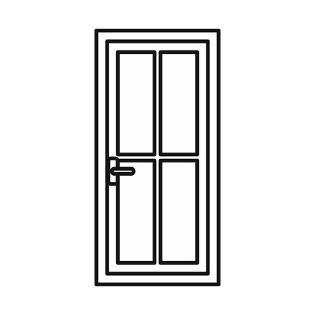 metall and glass: Glass door icon in outline style isolated vector illustration