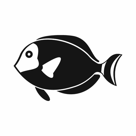 paracanthurus: Surgeon fish icon in simple style isolated vector illustration