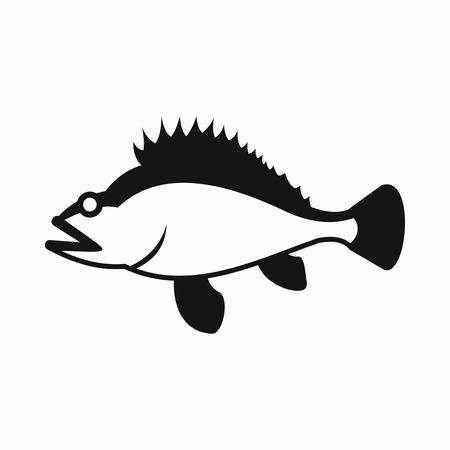 norvegicus: Rose fish, Sebastes norvegicus icon in simple style isolated vector illustration