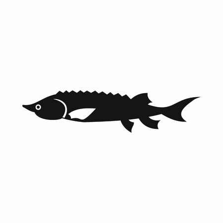 sturgeon: Fresh sturgeon fish icon in simple style isolated vector illustration
