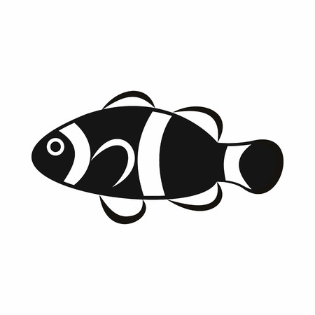 anemonefish: Cute clown fish icon in simple style isolated vector illustration Illustration