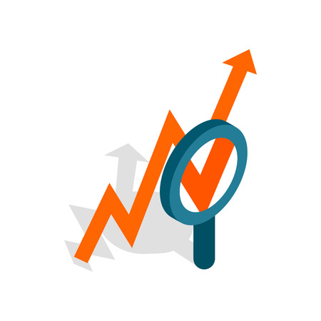 value system: Magnifier and growth chart icon in isometric 3d style isolated on white background. Statistics symbol