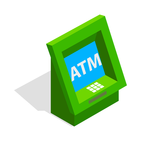 automatic transaction machine: ATM icon in isometric 3d style isolated on white background. Money symbol Vectores