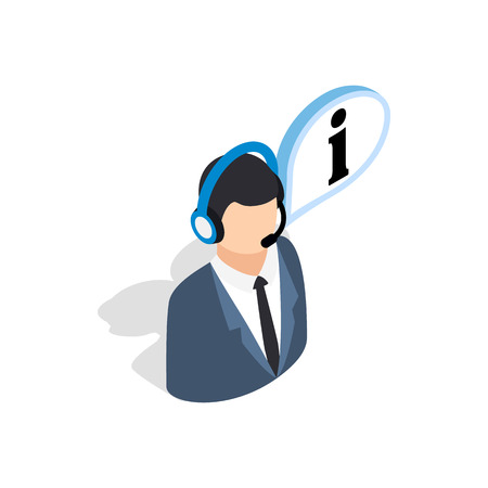 consultant: Consultant on phone icon in isometric 3d style isolated on white background. Help symbol