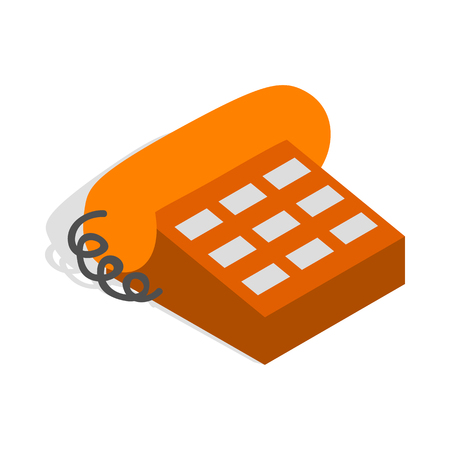 determinant: Phone handset icon in isometric 3d style isolated on white background. Conversations symbol