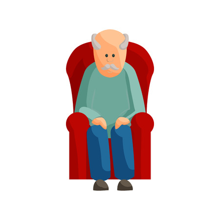 grandad: Old man sitting on chair icon in cartoon style isolated on white background