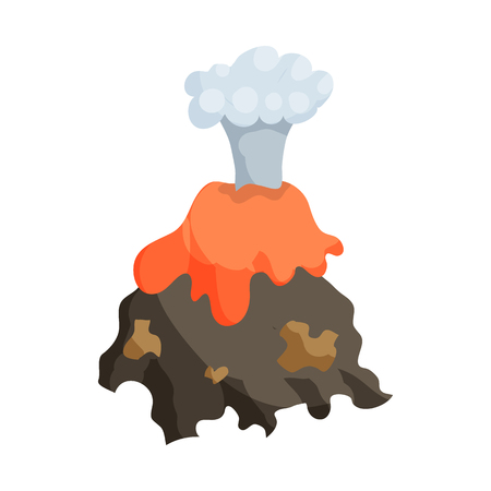 cartoon volcano: Natural disaster insurance. Volcano erruption icon in cartoon style isolated on white background