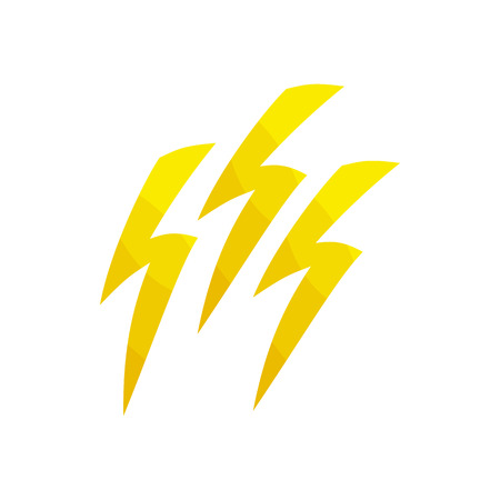 discharge: Natural disaster insurance. The discharge of electricity, lightning icon in cartoon style isolated on white background