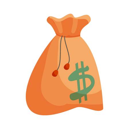 payday: Money bag with dollar sign icon in cartoon style isolated on white background