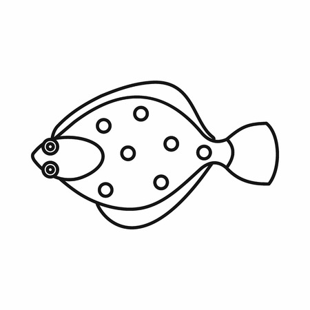 plaice: Flounder fish icon in outline style isolated vector illustration