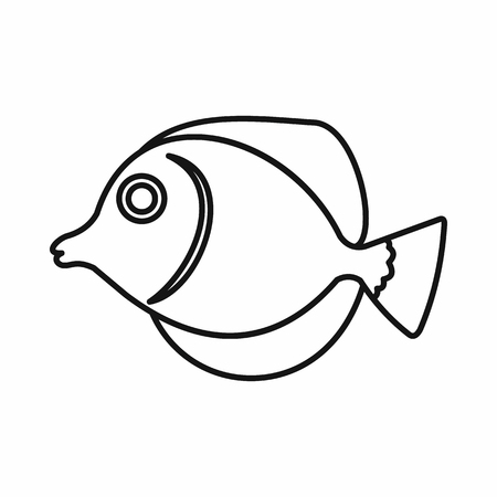 tang: Tang fish, Zebrasoma flavescens icon in outline style isolated vector illustration