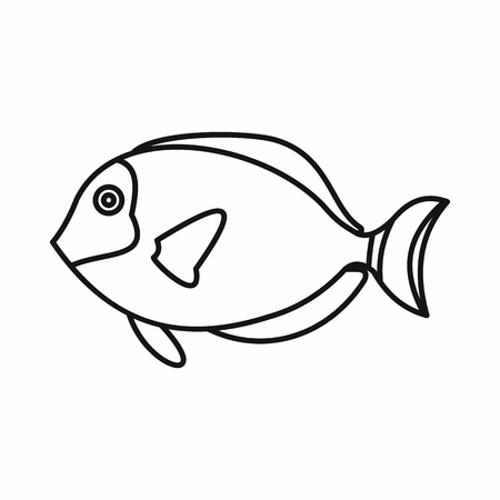 paracanthurus: Surgeon fish icon in outline style isolated vector illustration Illustration