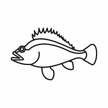 norvegicus: Rose fish, Sebastes norvegicus icon in outline style isolated vector illustration