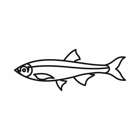 pilchard: Herring fish icon in outline style on a white background