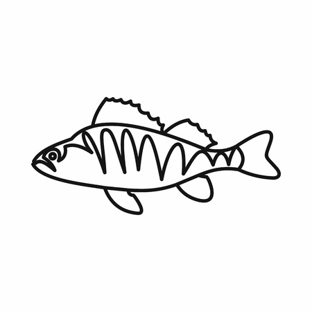 coldblooded: European perch, Perca fluviatilis icon in outline style isolated vector illustration Illustration