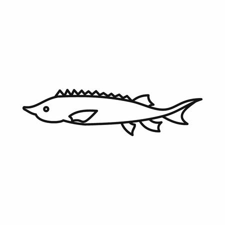 sturgeon: Fresh sturgeon fish icon in outline style isolated vector illustration Illustration