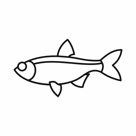 cypriniformes: Rudd fish icon in outline style isolated vector illustration Illustration