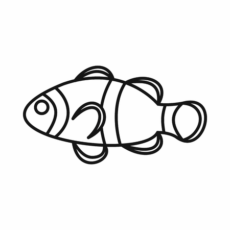 clown fish: Cute clown fish icon in outline style isolated vector illustration