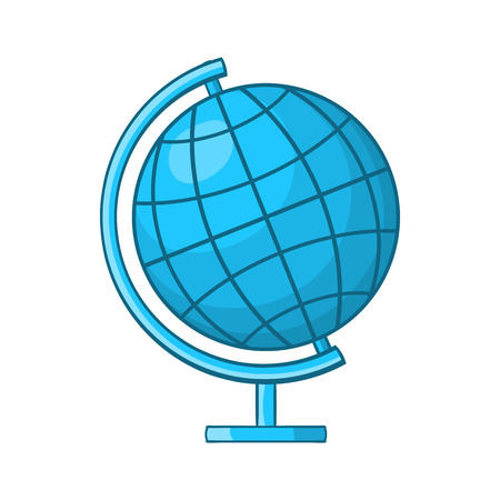 Globe icon in cartoon style on a white background