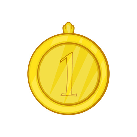 Gold first place medal icon in cartoon style on a white background Illustration