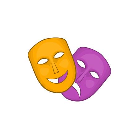 Comedia y tragedia máscaras de teatro icono de estilo de dibujos animados sobre un fondo blanco