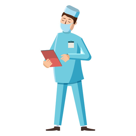 Doctor icon in cartoon style on a white background