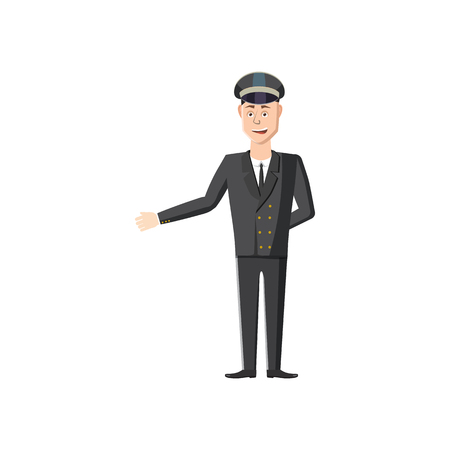 chauffeur: Chauffeur icon in cartoon style on a white background