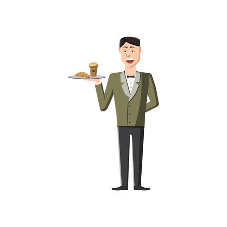 Waiter holding tray with food icon in cartoon style on a white background
