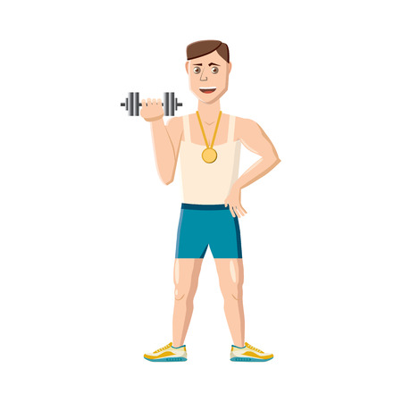 Athlete with dumbbell icon in cartoon style on a white background Illustration