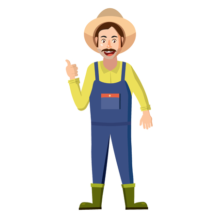 an agronomist: Farmer icon in cartoon style on a white background