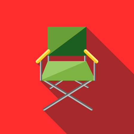 folding screens: Cinema director chair icon in flat style on a red background Illustration