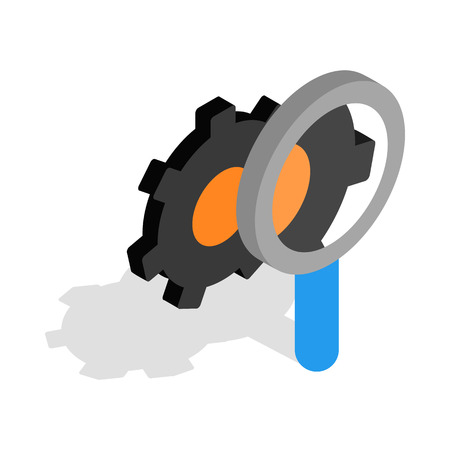 communications tools: Magnifying Glass and gears icon in isometric 3d style on a white background