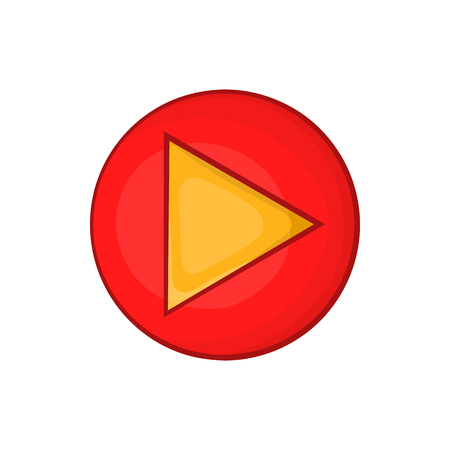 active arrow: Red play button icon in cartoon style on a white background