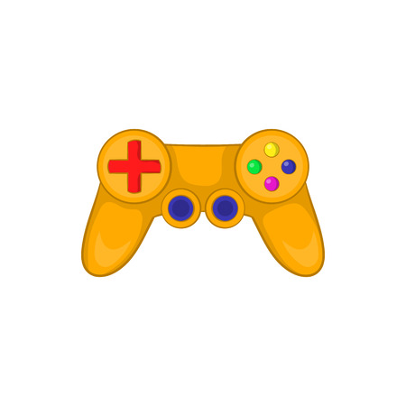 Video game controller icon in cartoon style on a white background