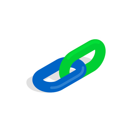shackle: Chain link icon in isometric 3d style on a white background