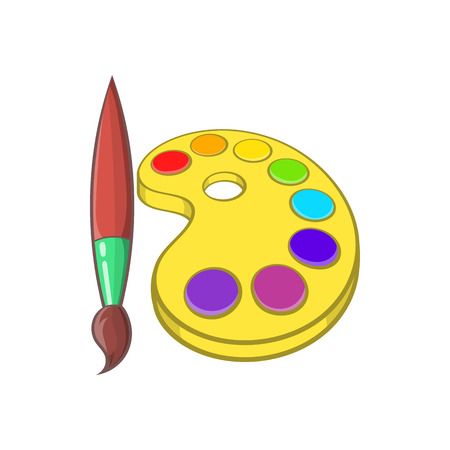 Art palette with paints and brush icon in cartoon style on a white background