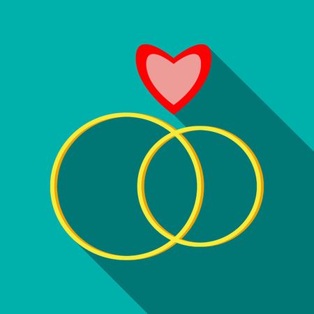 engagement rings: Engagement rings icon in flat style with long shadow. Wedding symbol