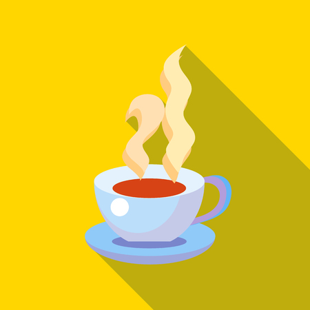Cup of hot tea icon in flat style with long shadow. Drinks symbol