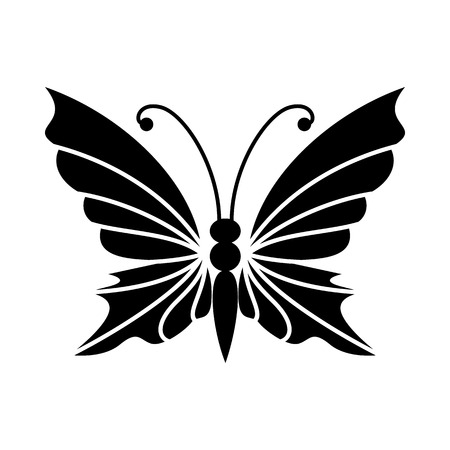 antennae: Butterfly with antennae icon in simple style isolated on white background. Insect symbol