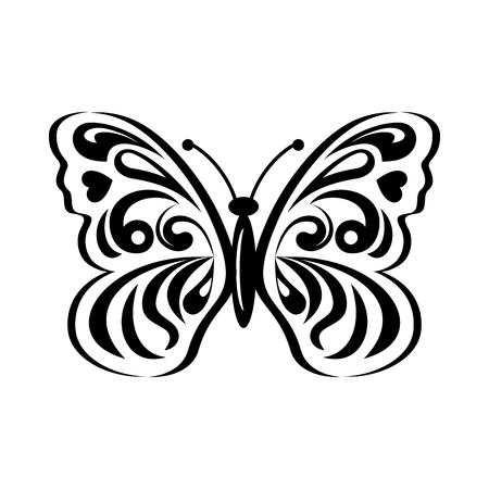 patterning: Butterfly with abstract patterning on wings icon in simple style isolated on white background. Insect symbol